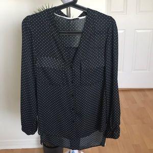 ZARA black & white print long sleeve blouse size S